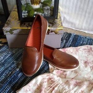 Yuu Brown Leather Slip On Sneakers